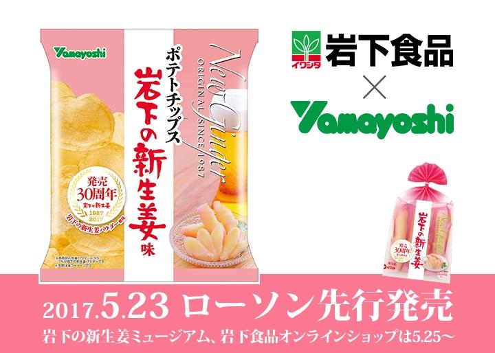 岩下の新生姜×山芳製菓「ポテトチップス 岩下の新生姜味」発売