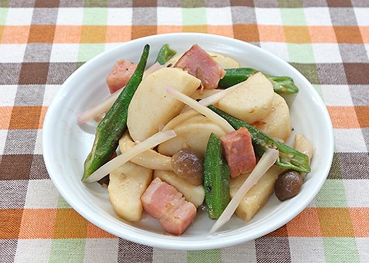 画像:長芋とベーコンのジャーマンポテト~新生姜和え~(盛付例)
