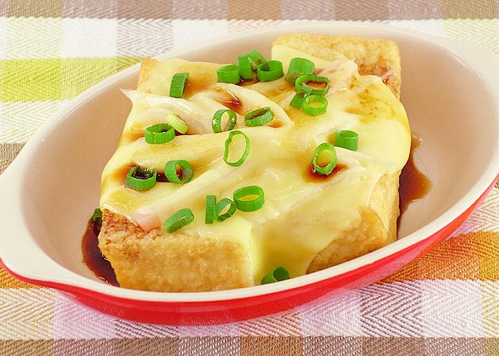 画像:【低糖質】レンジで簡単!岩下の新生姜&チーズのせ厚揚げ